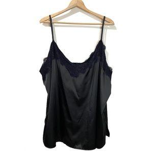 RUE Size 4X Black Satin Lace Lingerie Slip Top